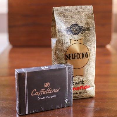 CAJA CAFFETTINO X 4 CAPSULAS NESPRESSO + 250 GR DE CAFÉ TOSTADO